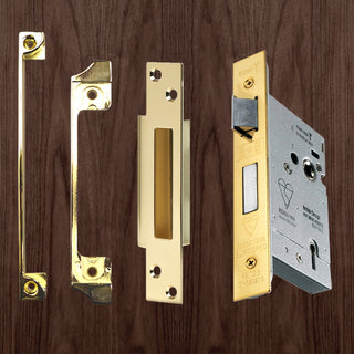 Image: Mortice Sash Lock & Rebate Set for Wooden Doors - 2 Sizes and 2 Finishes