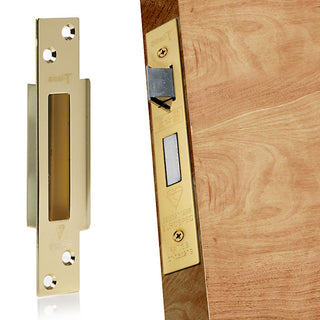Image: 64mm Polished Brass: Mortice Sash Lock for Timber Doors