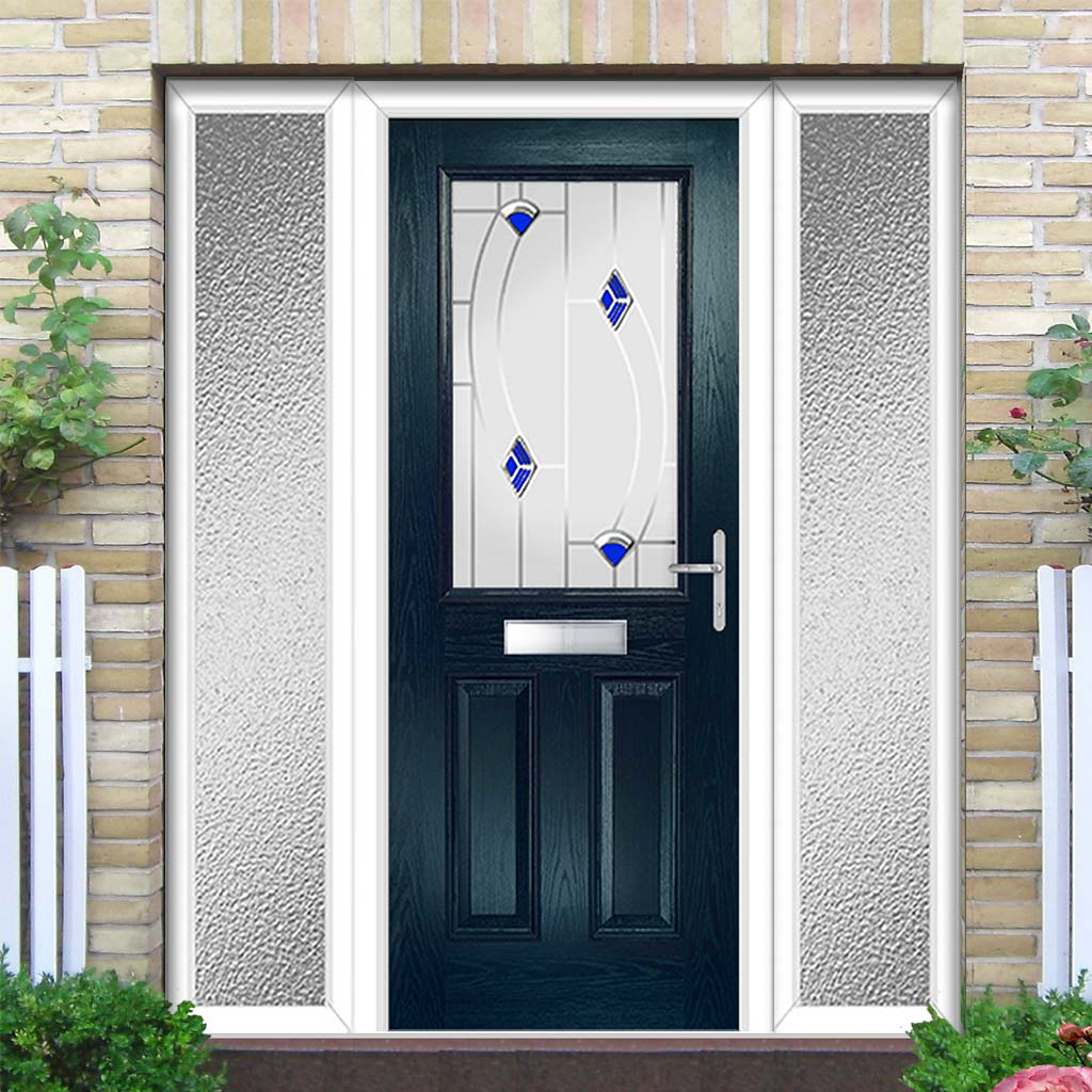 Premium Composite Entrance Door Set with Two Side Screens - Mulsanne 1 Kupang Blue Glass - Shown in Blue