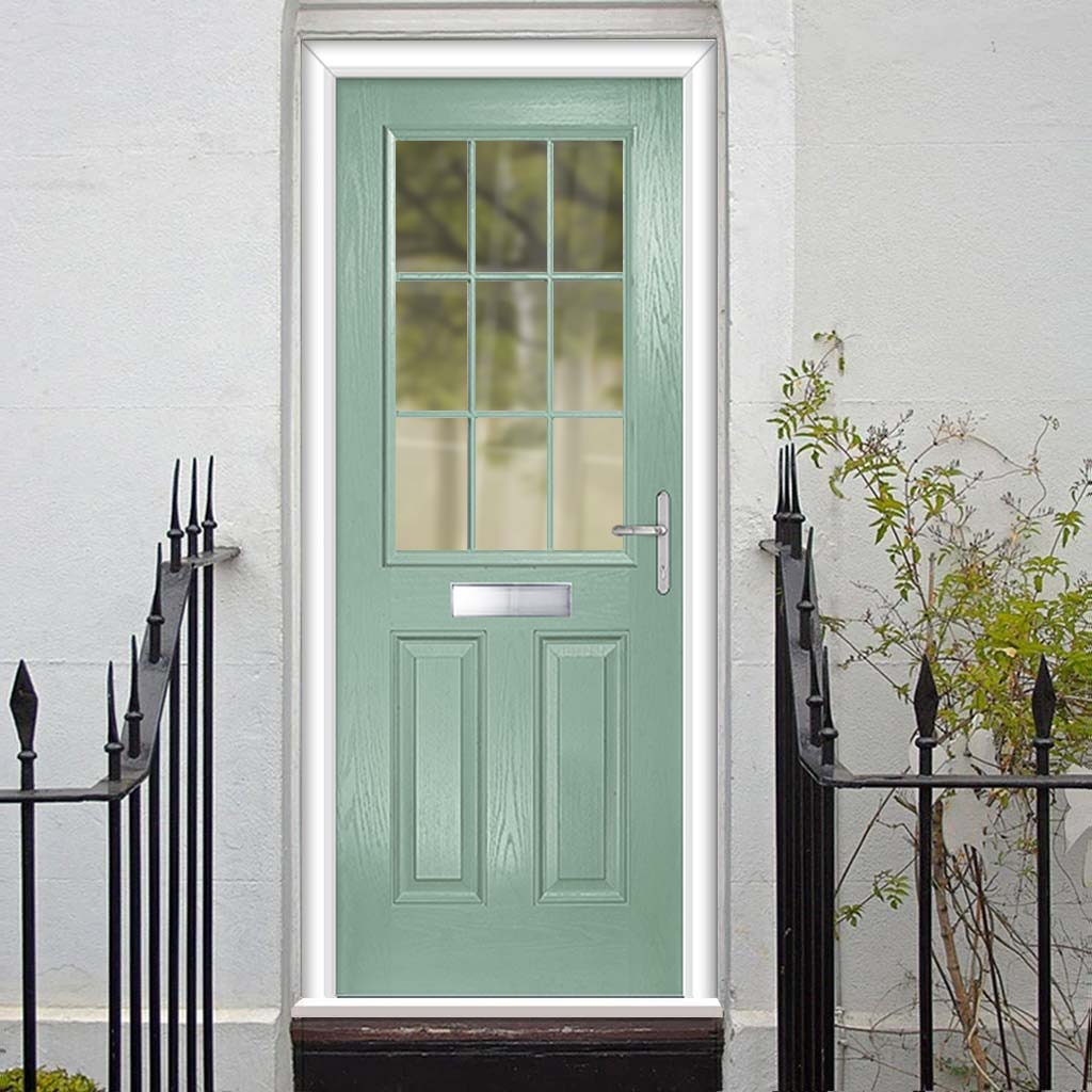 Premium Composite Entrance Door Set - Mulsanne 1 Geo Bar Clear Glass - Shown in Chartwell Green