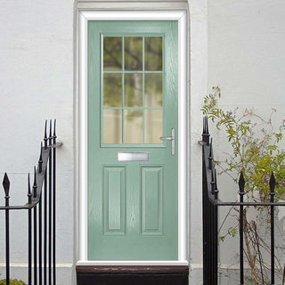 Image: Premium Composite Entrance Door Set - Mulsanne 1 Geo Bar Clear Glass - Shown in Chartwell Green