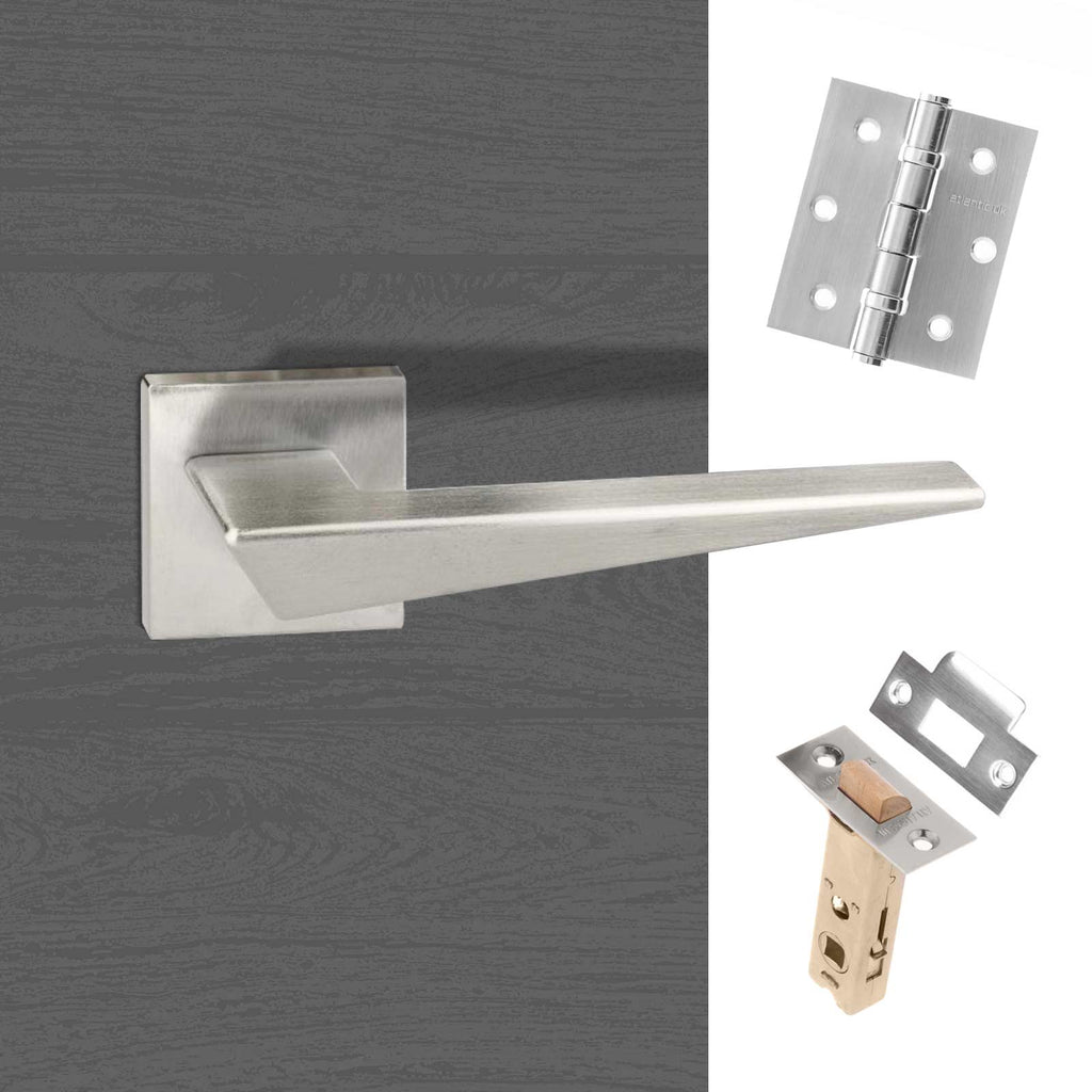 Forme Naxos Designer Lever on Minimal Square Rose - Satin Chrome Handle Pack
