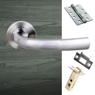 Image: Nevada Status Fire Lever on Round Rose - Satin Chrome Handle Pack