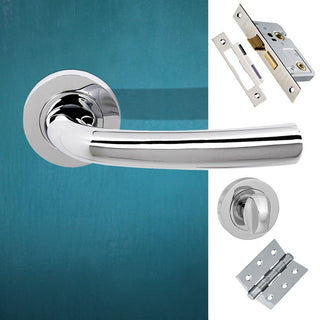 Image: Nevada Status Bathroom Lever on Round Rose - Polished Chrome Handle Pack