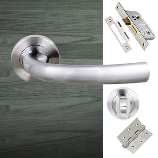 Image: Nevada Status Bathroom Lever on Round Rose - Satin Chrome Handle Pack
