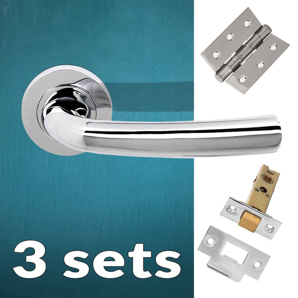 Three Pack Nevada Status Lever on Round Rose - Polished Chrome Handle