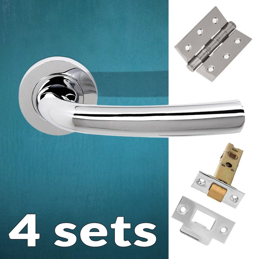 Four Pack Nevada Status Lever on Round Rose - Polished Chrome Handle