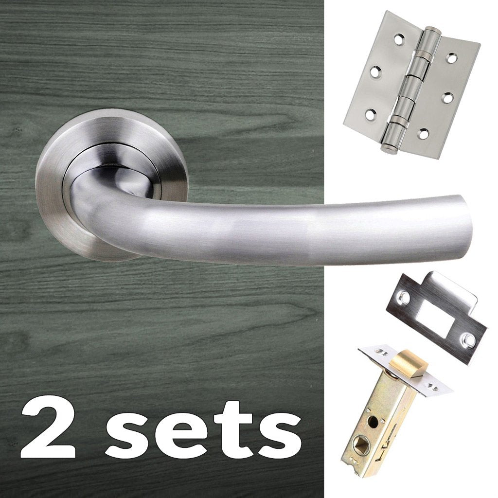 Two Pack Nevada Status Lever on Round Rose - Satin Chrome Handle