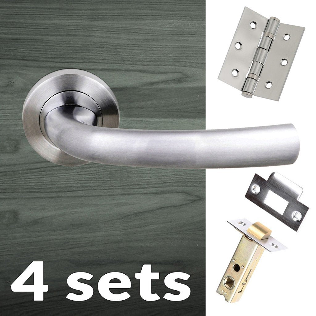 Four Pack Nevada Status Lever on Round Rose - Satin Chrome Handle
