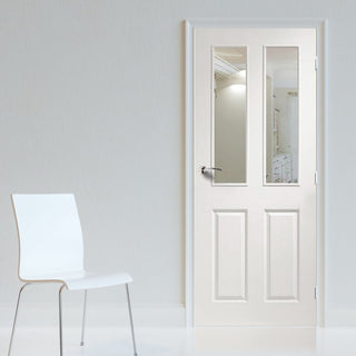 Image: Victorian Door with Clear Safety Glass is White Primed