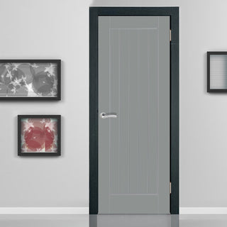 Image: JELD-WEN True Colour Grained Newark Cottage Painted Interior Door - Gun Metal Grey - Prefinished
