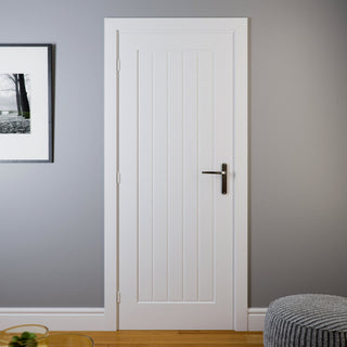 Image: Jeldwen Internal Newark 5 Panel Woodgrain Door - White - Moulded Range