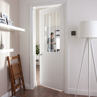 Image: JELD-WEN Internal Newark Vertical Etch Glazed Door - White - Moulded Range