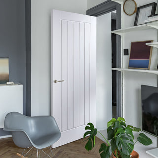 Image: JELD-WEN Internal Newark 5 Panel Middleweight Woodgrain Door - White - Moulded Range