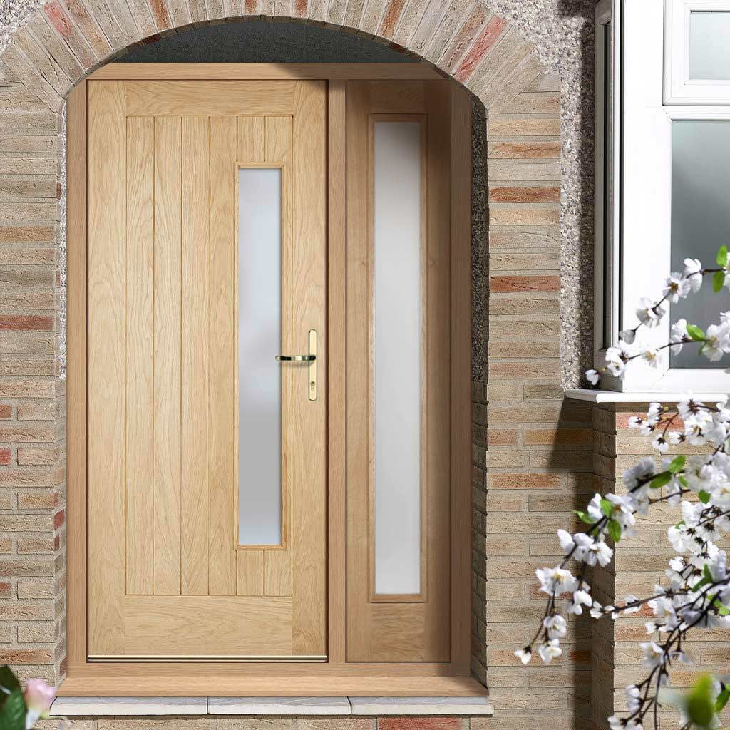 Part L Compliant Newbury Exterior Oak Door and Frame Set - Frosted Double Glazing - One Side Screen, From LPD Joinery