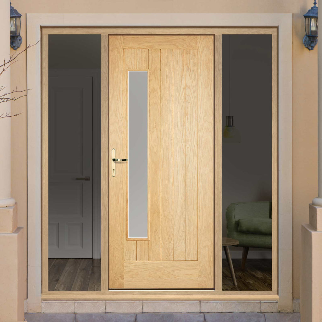 Part L Compliant Newbury Exterior Oak Door and Frame Set - Frosted Double Glazing - Two Unglazed Side Screens, From LPD Joinery