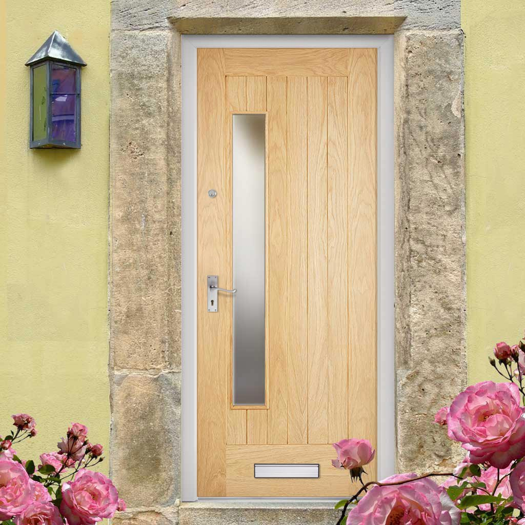 Part L Compliant Newbury Oak Door - Frosted Double Glazing - Warmerdoor Style