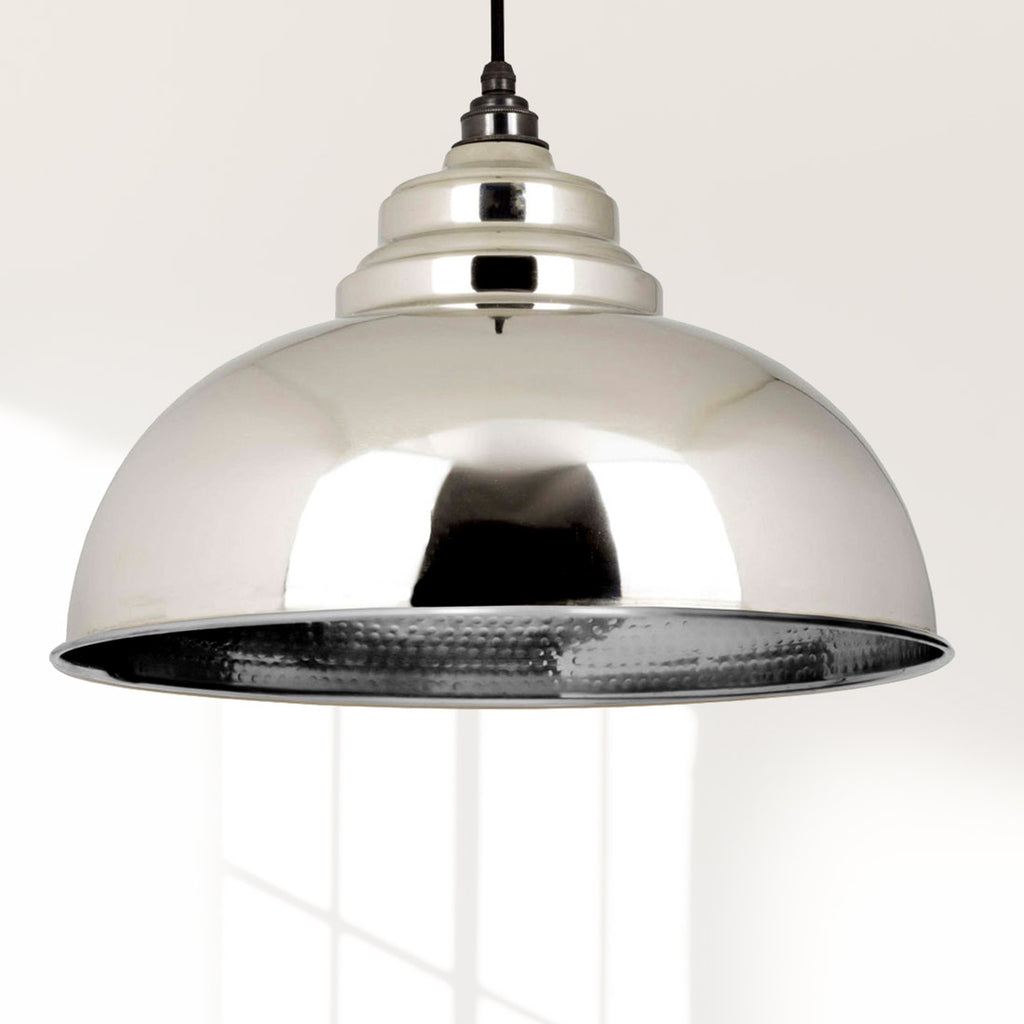 Hammered Nickel Harborne Pendant Ceiling Light Fitting