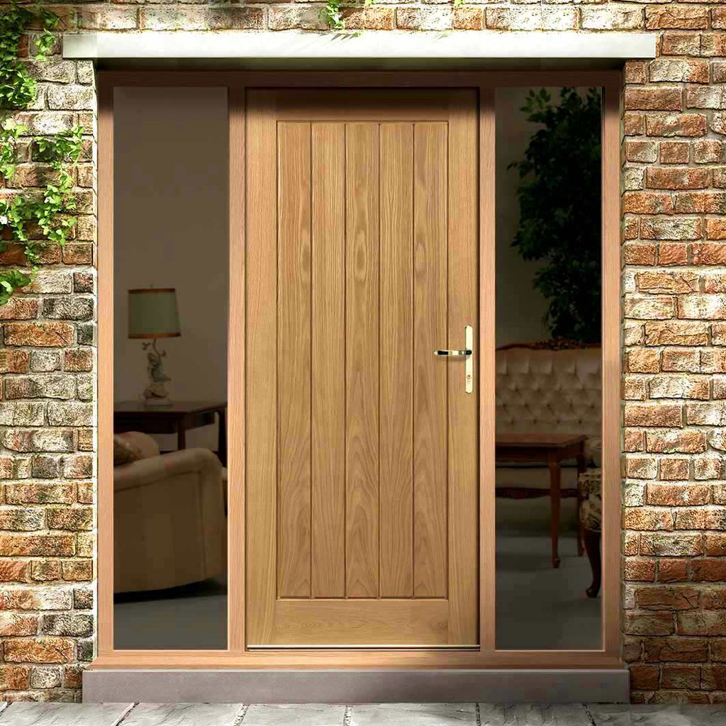 Norfolk Flush Exterior Oak Door and Frame Set - Two Unglazed Side Screens, From LPD Joinery