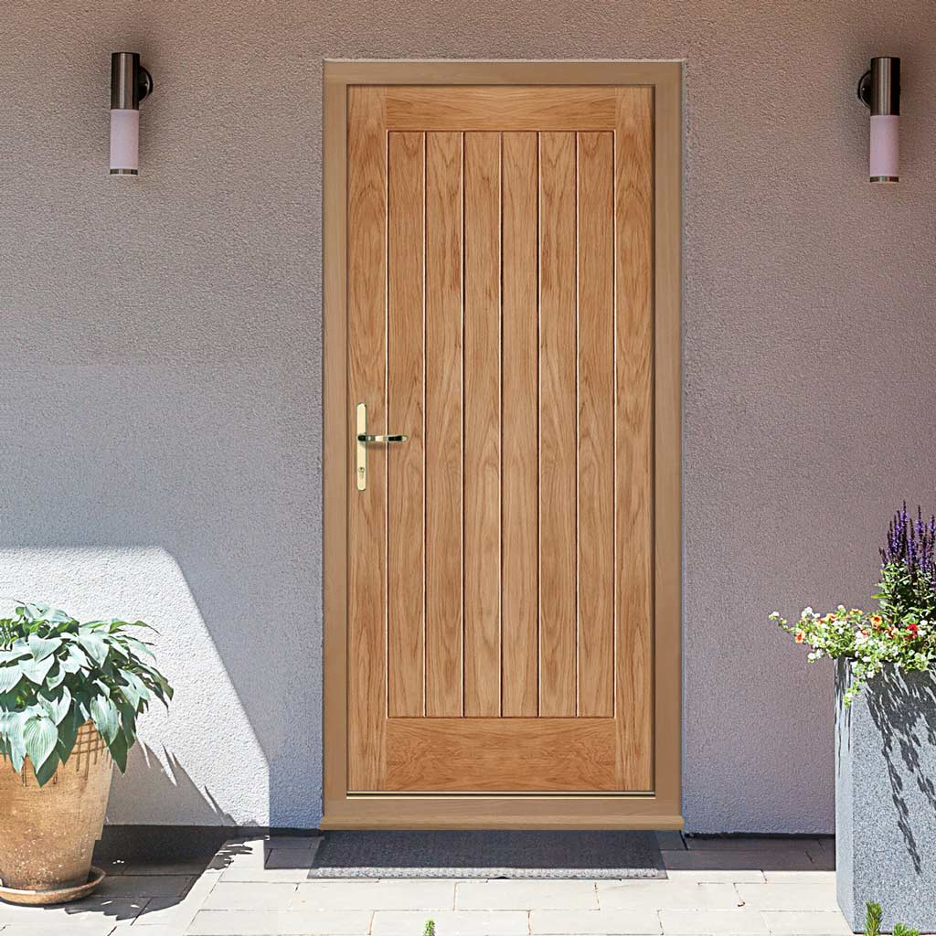 Norfolk Flush Exterior Oak Door and Frame Set, From LPD Joinery