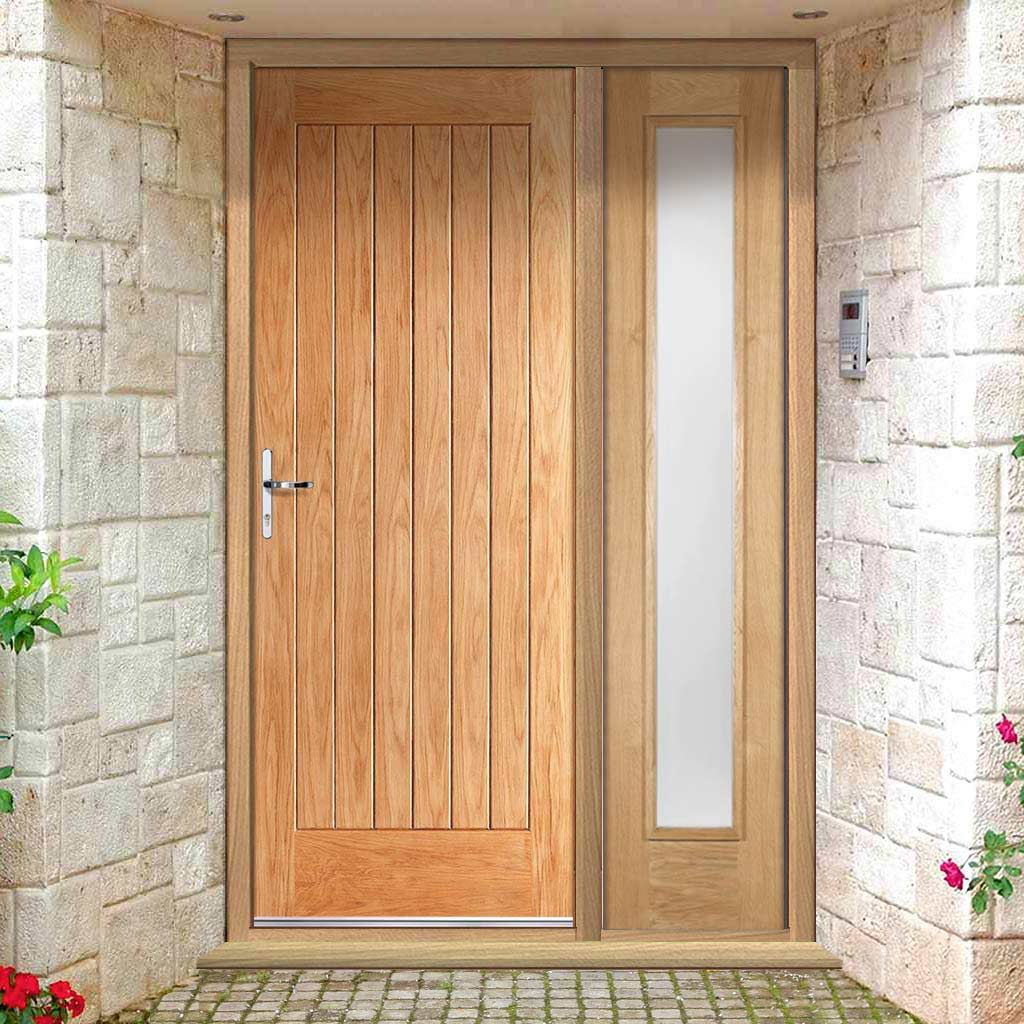 Norfolk Flush Exterior Oak Door and Frame Set - Frosted Double Glazing - One Side Screen, From LPD Joinery