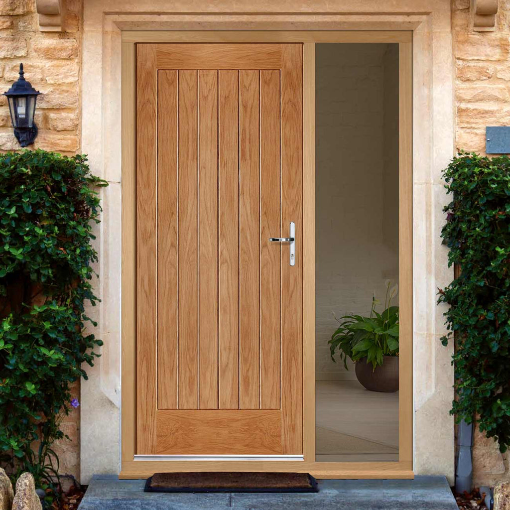 Norfolk Flush Exterior Oak Door and Frame Set - One Unglazed Side Screen, From LPD Joinery