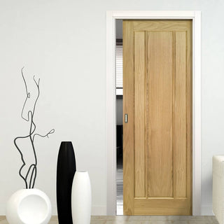 Image: Norwich Real American Oak Veneer Single Evokit Pocket Door - Unfinished