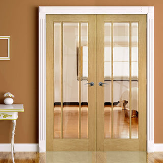 Image: Norwich Real American Oak Veneer Door Pair - Clear Bevelled Glass - Unfinished