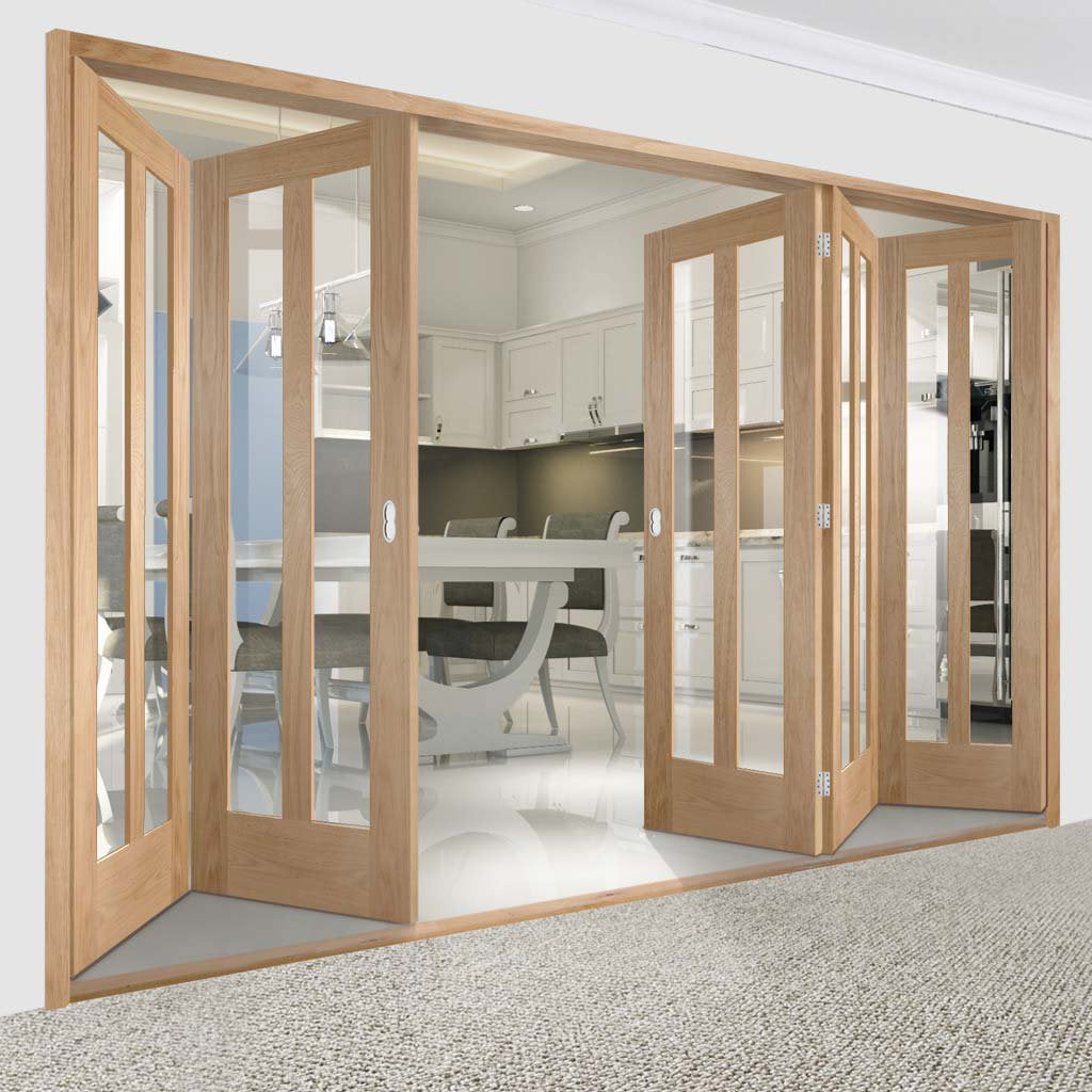 Bespoke Thrufold Novara Oak Glazed Folding 3+2 Door