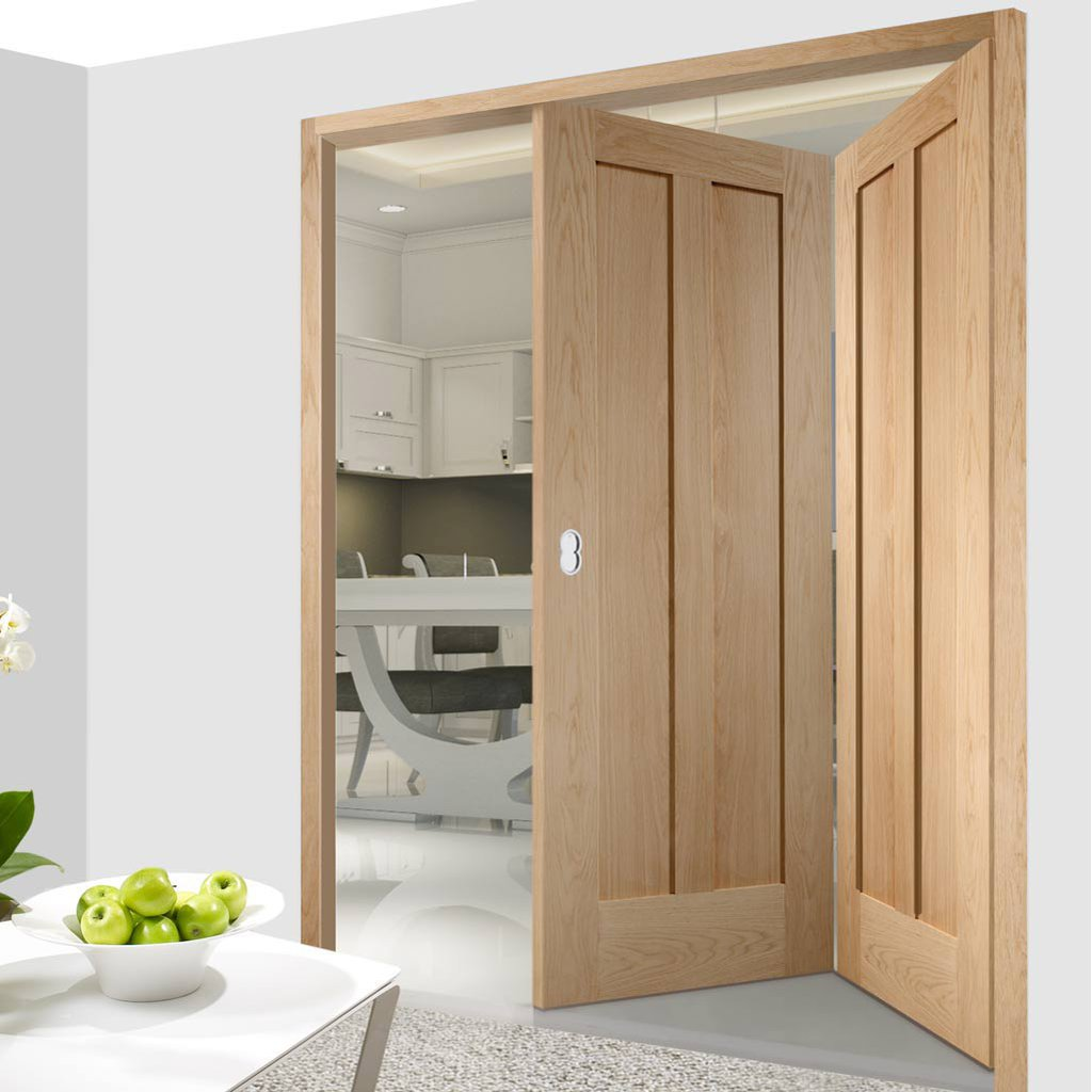 Two Folding Doors & Frame Kit - Novara Oak 2 Panel 2+0 - Unfinished