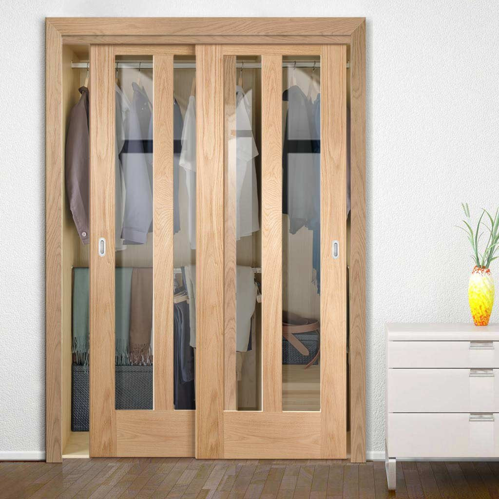 Bespoke Thruslide Novara Oak Glazed 2 Door Wardrobe and Frame Kit