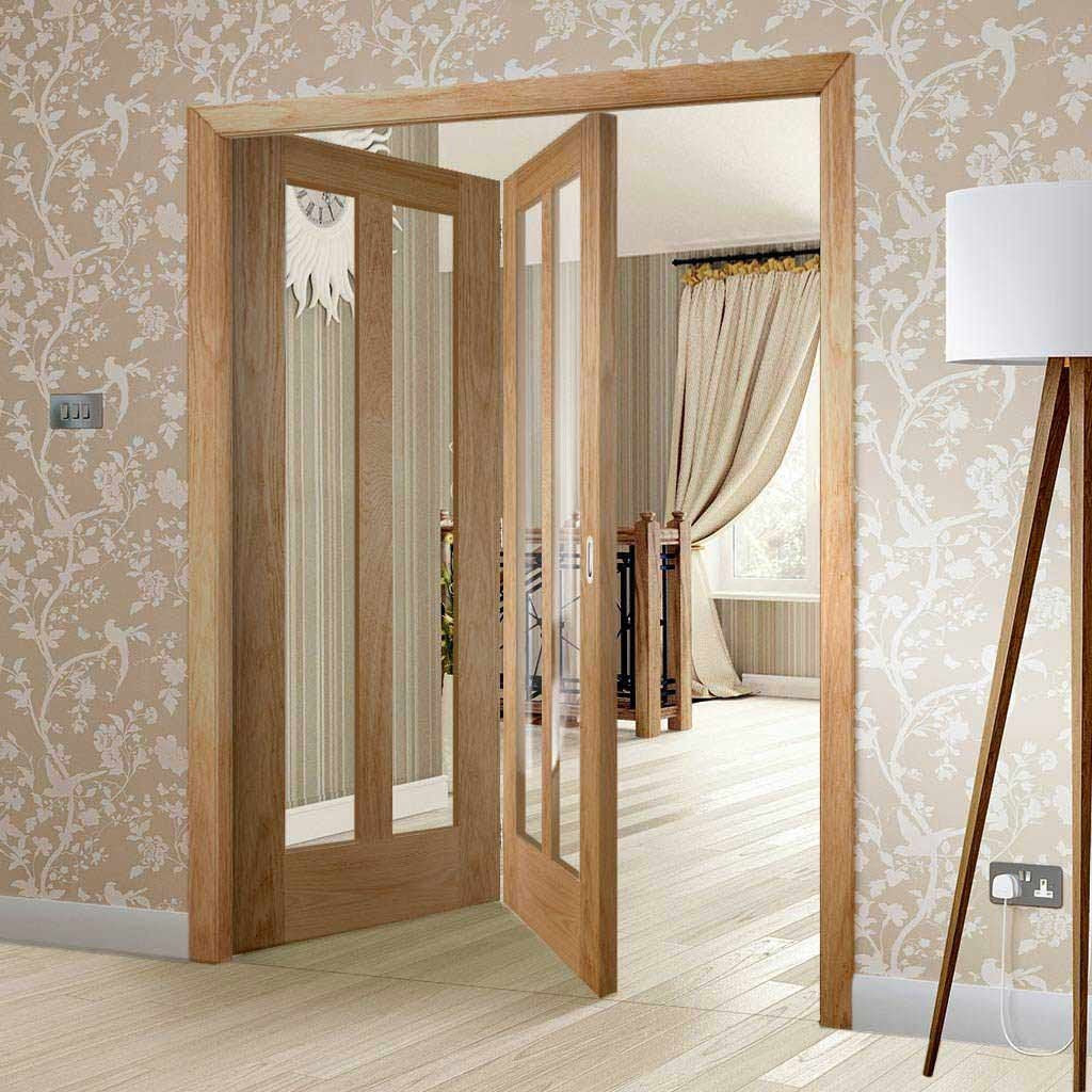 Bespoke Thrufold Novara Oak Glazed Folding 2+0 Door