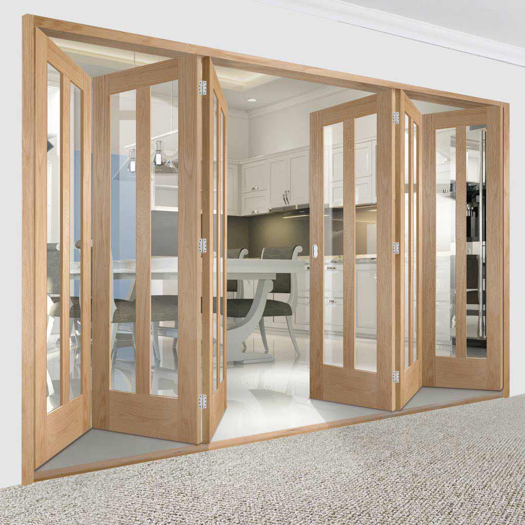 Bespoke Thrufold Novara Oak Glazed Folding 3+3 Door
