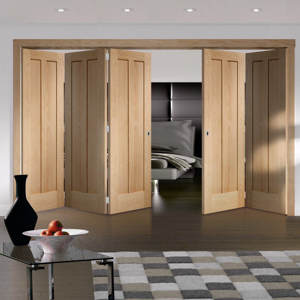 Bespoke Thrufold Novara Oak 2 Panel Folding 3+2 Door