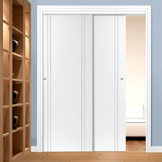 Image: Two Sliding Doors and Frame Kit - Novello White Primed Flush Door