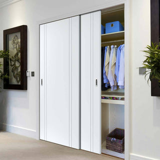 Image: Thruslide Limelight Novello White Primed Flush 2 Door Wardrobe and Frame Kit