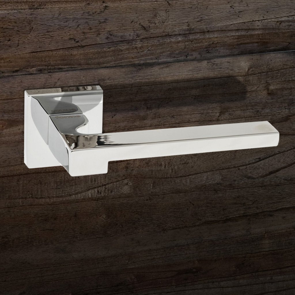 Ginevra Forme Designer Lever on Minimal Square Rose - Polished Chrome