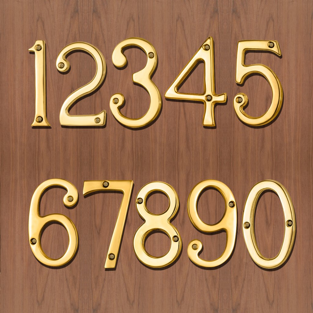 Number 9, Polished Brass, 76mm: Brass Numerals - 76mm in Size