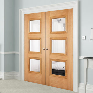 Image: Amsterdam 3 Pane Glazed Oak Door Pair - Prefinished