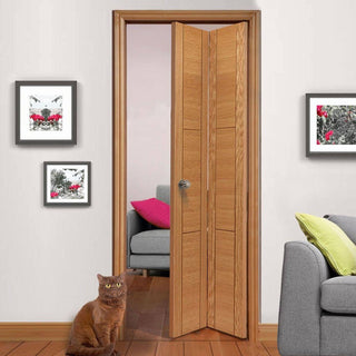 Image: J B Kind Oak Contemporary Mistral Flush Bifold Door - Decorative Groove - Prefinished