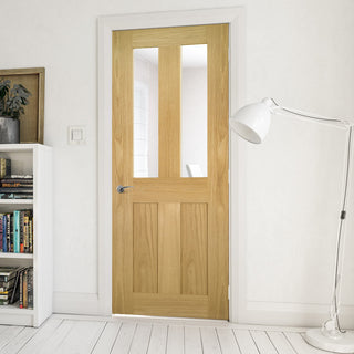 Image: Eton Real American White Oak Veneer Door - Clear Glass - Unfinished
