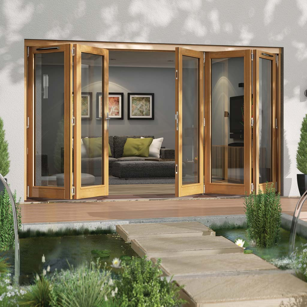 Jeld-Wen Canberra Stained Oak Fold and Slide Solid Patio Doorset, OCAN36 2L3R, 2 Left - 3 Right, 3594mm Wide