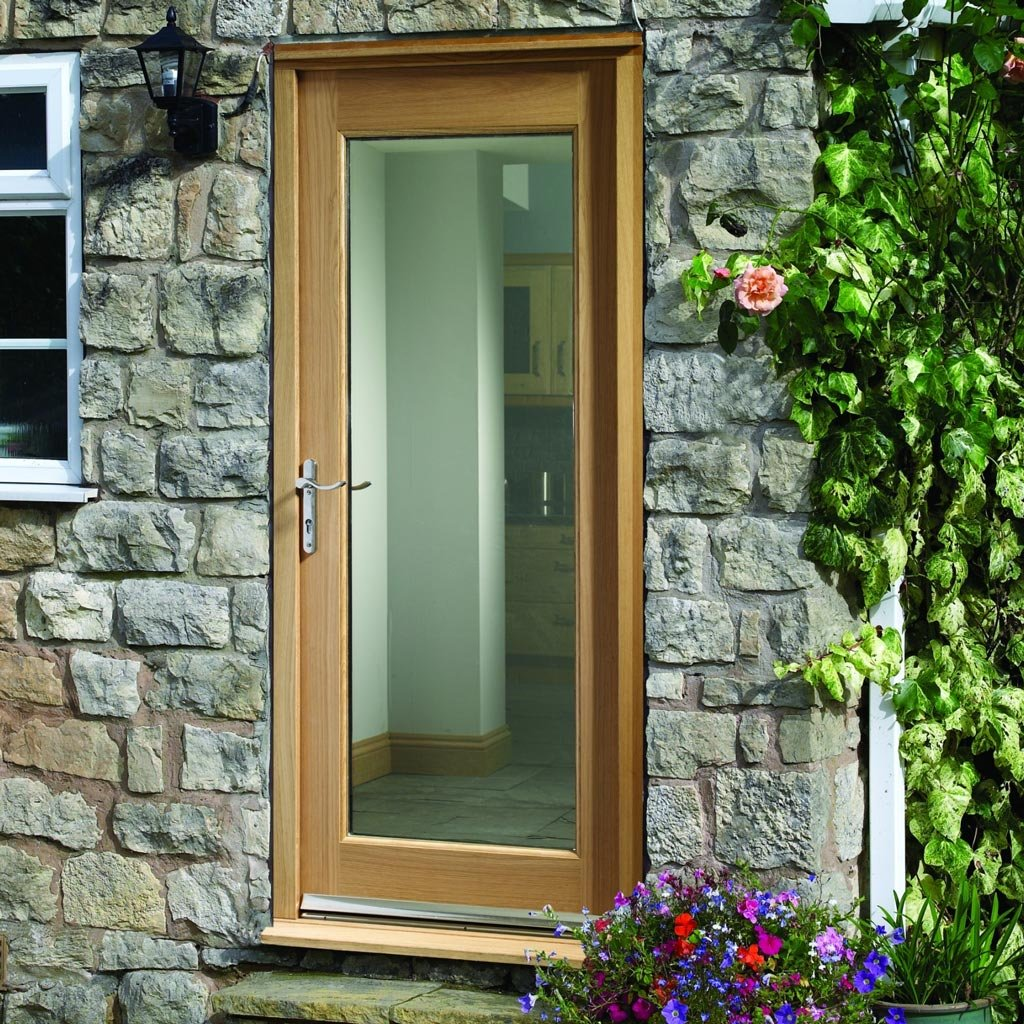 Prefinished Pattern 10 Oak Door and Frame Set - Clear Double Glazing