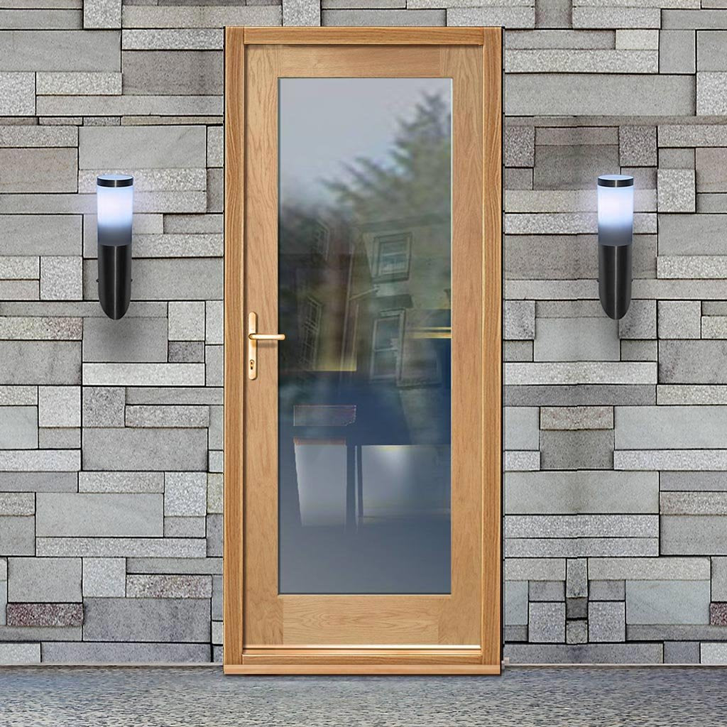 Shaker 1L Oak External Door and Frame Set with Fittings - Clear Double Glazing