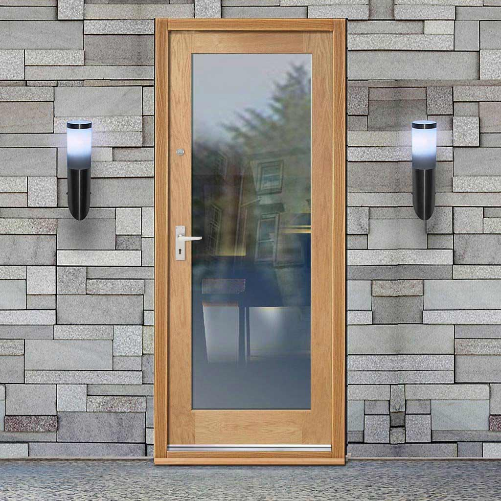 Part L Compliant External Shaker 1L Oak Door - Clear Double Glazing