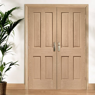 Image: FD30 Fire Pair, Victorian Oak Door Pair - No Raised Mouldings - 30 Minute Rated