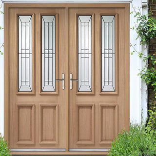Image: Malton Oak Double Door and Frame Set with Diamond style Black Caming Safety Tri Glazing