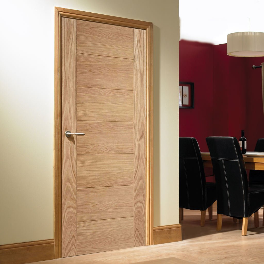 LPD Joinery Fire Door, Carini 7 Panel Oak Flush - 30 Minute Fire Rated