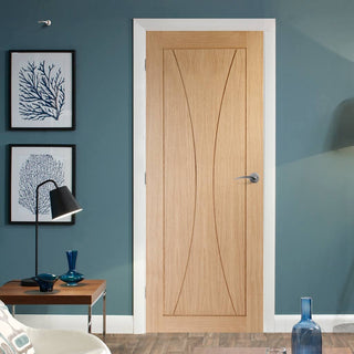 Image: Fire Rated Verona Flush Oak Door - 1/2 Hour Fire Rated