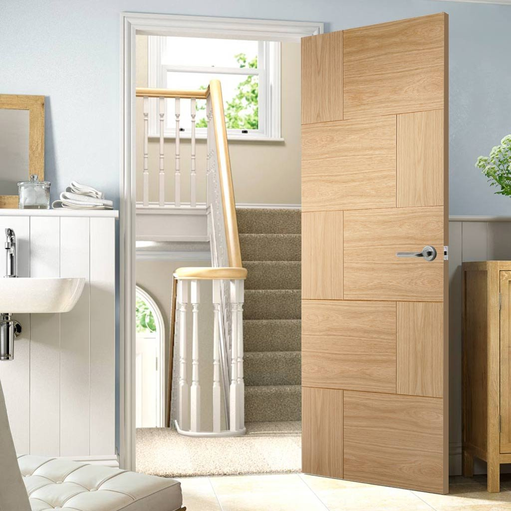 Fire Rated Ravenna Flush Oak Door - 1/2 Hour Fire Rated